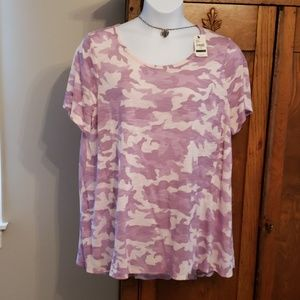 MWT Lane Bryant lavendar/pink csmmo print top